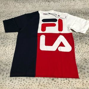 Fila Indigo Crew Tee Shirt Spell Out Short Sleeve